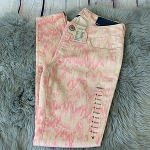 American Eagle Pink & Cream Ankle Zip Jeggings 4